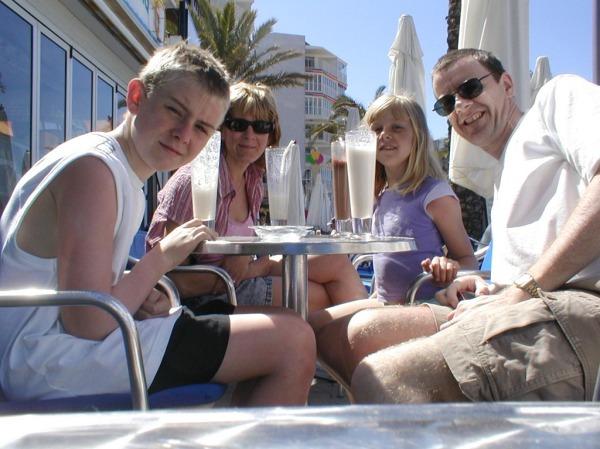 Us enjoying some milkshakes at a sea-front cafe