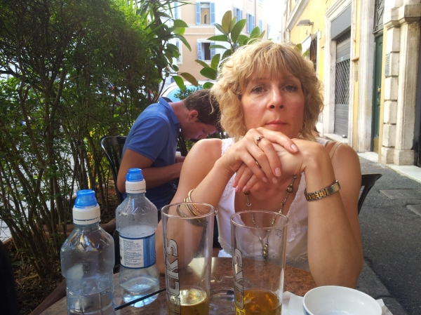 Drinks at a nice cafe. I think it was on the Via Ripetta?