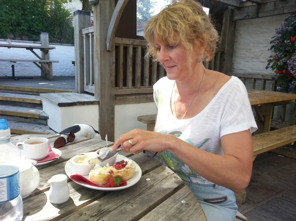 Enjoying a Cream Tea at The Thatch, Croyde Bay