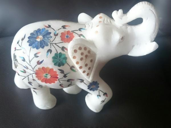 My Marble 'White Elephant', Pietra Dura style