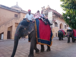 Elephant ride into the fort