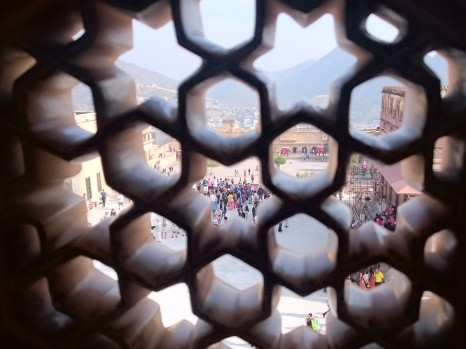 View through stone lattice window, Amber Fort