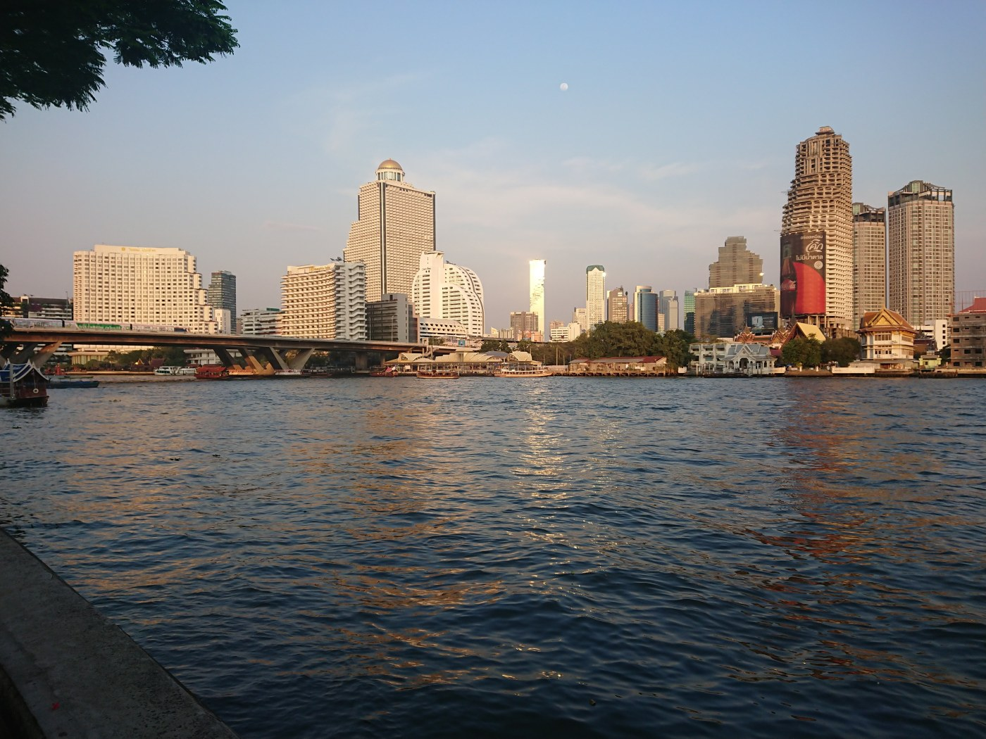 View across the Chao Phraya river from the Ibis Riverside hotel.