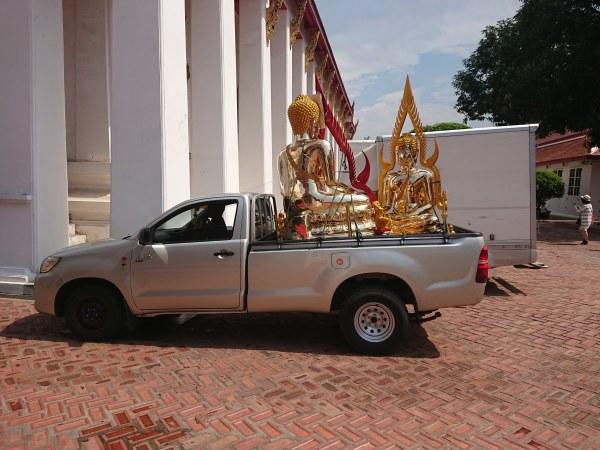 Golden Buddhas in a pickup truck, National Museum, Bangkok.