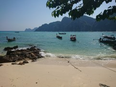 A touch of paradise - the deserted beach outside our hotel