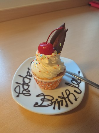 An unexpected little birthday cake from the Ibis Hotel