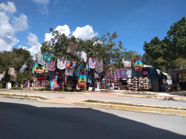Colourful market stalls outside Tulum ruins