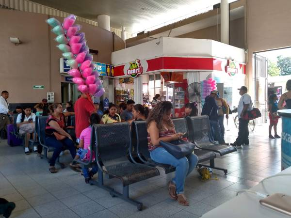 Candy floss vendors in the ADO bus station, Valladolid