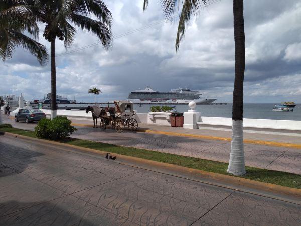 Cruise ships dock at Cozumel