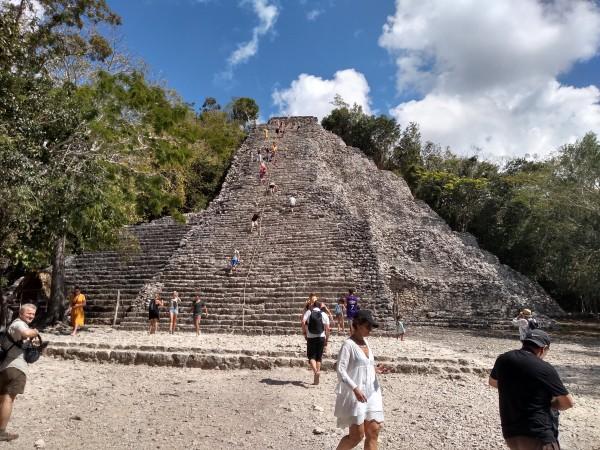 Deborah halfway up her pyramid climb