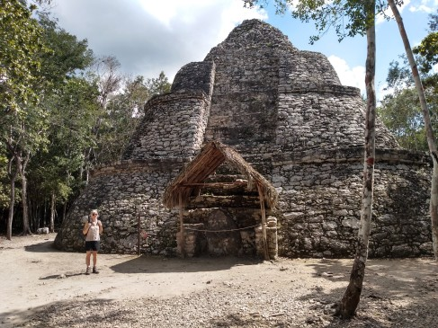 The Xaibé Pyramid at Cobá, unusual for it's oval shape