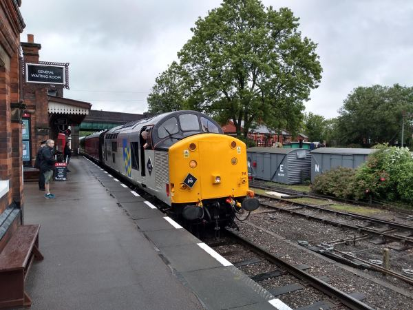 Class 37 Diesel 37714 leaving Quorn in preparation for the day's timetable