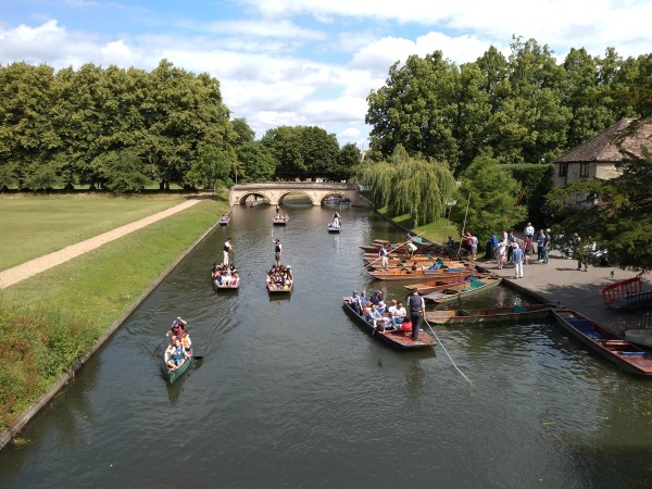 Punting on the River Cam behind the colleges