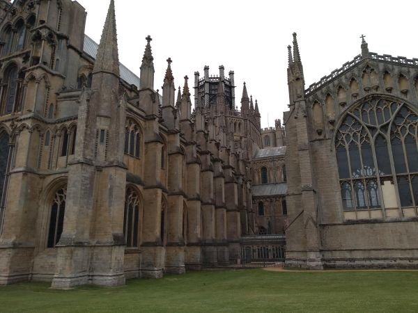 Magnificent stonework at the rear of Ely Cathedral, viewed from The Almonry Gardens