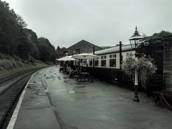 A rainy start to the day outside the buffet carriage at Oxenhope station