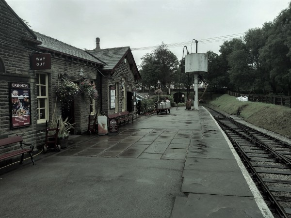End of the line, looking towards the water tower and headshunt at Oxenhope station