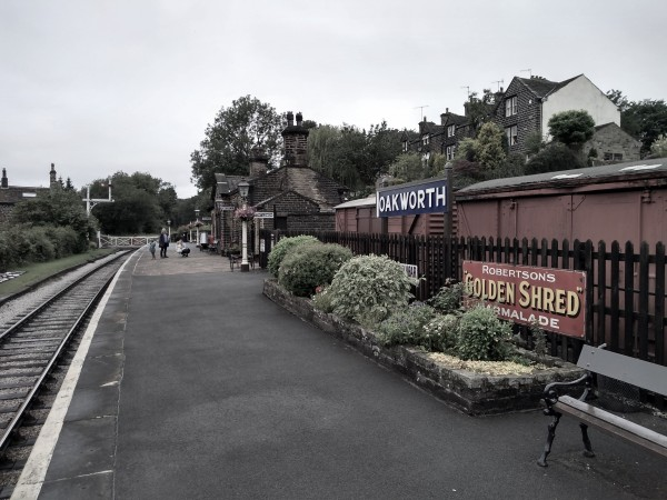 Looking towards the level crossing at Oakworth station, featured in 'The Railway Children'