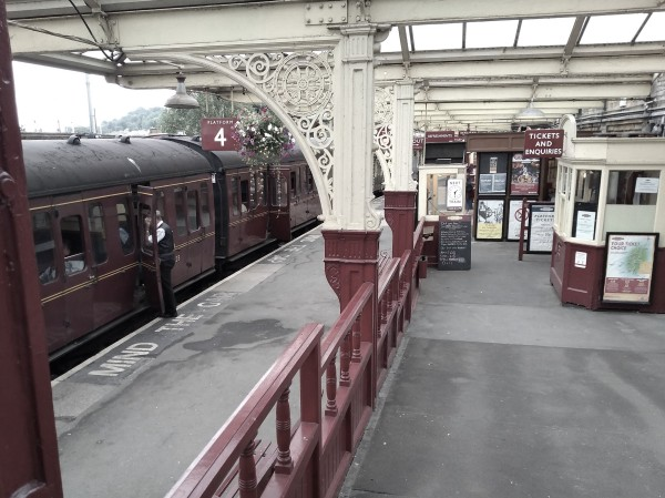 The entrance ramp down to platform 4 at Keighley station
