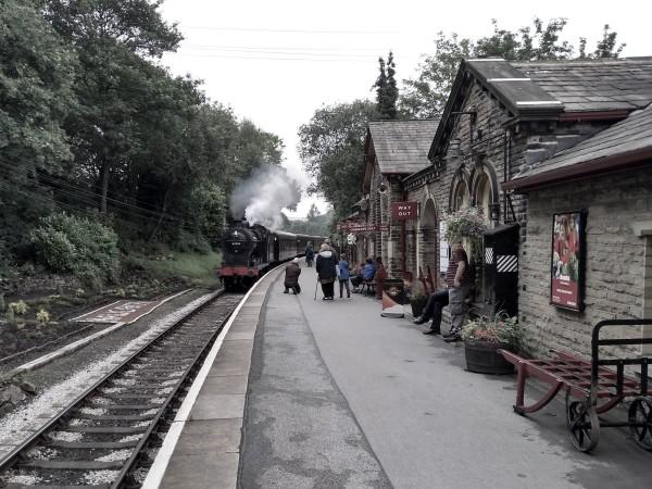 Midland 4F arriving at Haworth