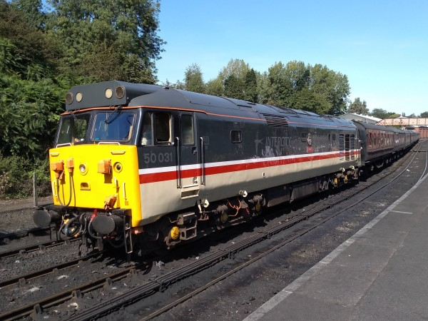 Class 50 diesel 50031 'Hood' in full Intercity Swallow livery at Bridgnorth
