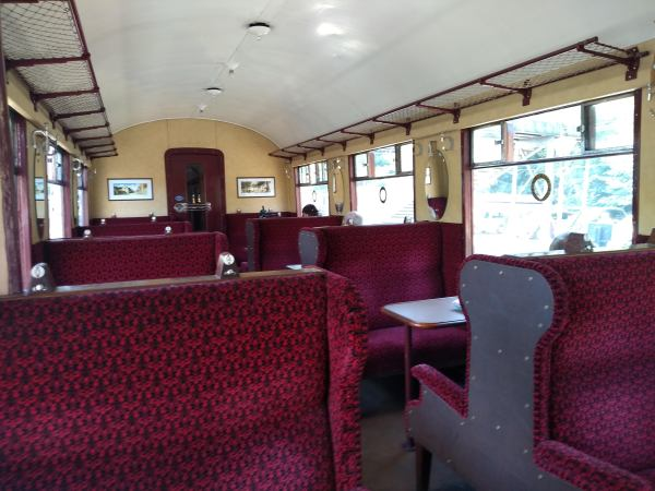 Inside one of the LNER teak coaches from the 'Flying Scotsman'