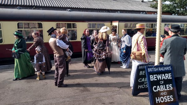 Steampunk crowd on Loughborough platform