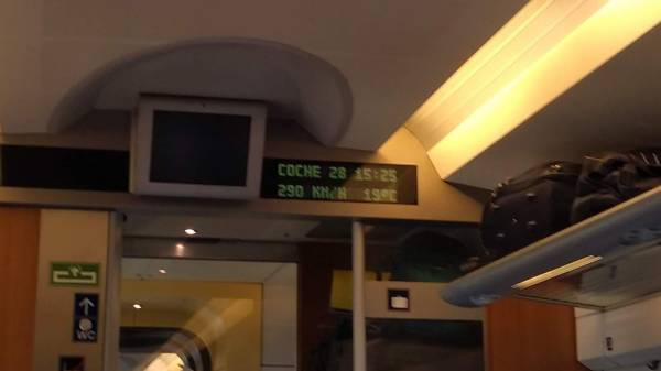 The in-coach display on the AVE train hits 290kph (180mph)