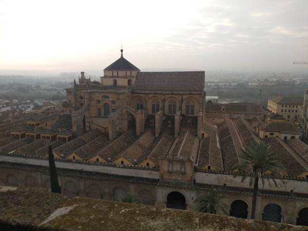 Rooftop view of the Mezquita Cathedral from the top of the Belltower