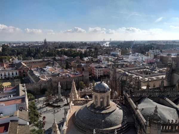 Looking out from La Giralda over the Real Alcázar