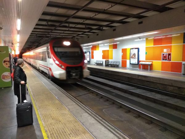 Our Cercanías Line train for the airport