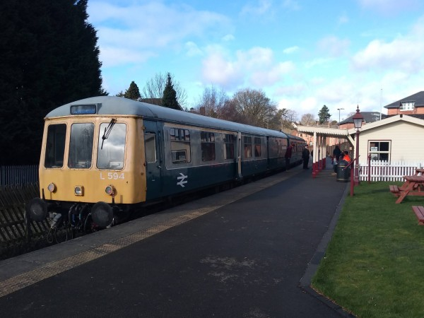 Diesel Multiple Unit waiting at Duffield Station