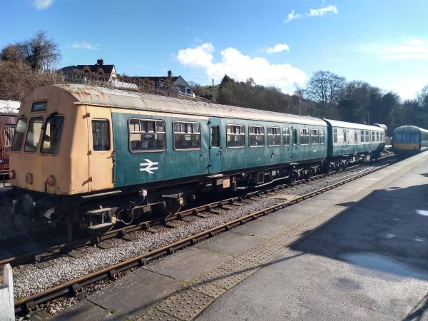 Diesel Multiple Unit and a Railcar waiting at Wirksworth Station
